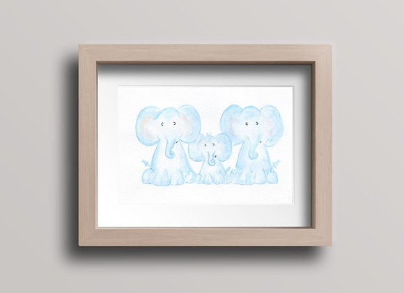 Elephant Family- Original Watercolor Painting