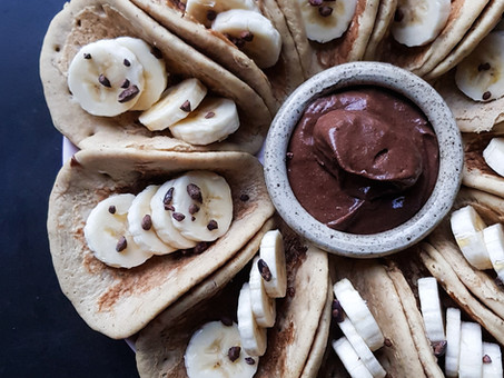 """Breakfast """"tacos"""" with a chocolate chia dipping sauce"""