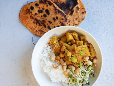 Yellow jackfruit and potato curry