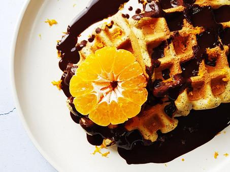 Orange and poppy seed waffles