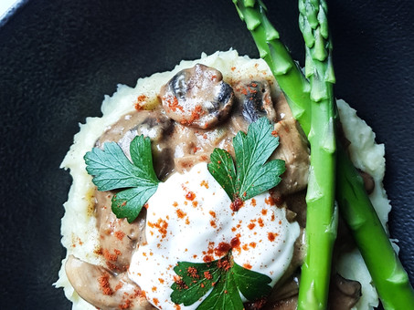Vegan mushroom stroganoff with creamy mashed potatoes