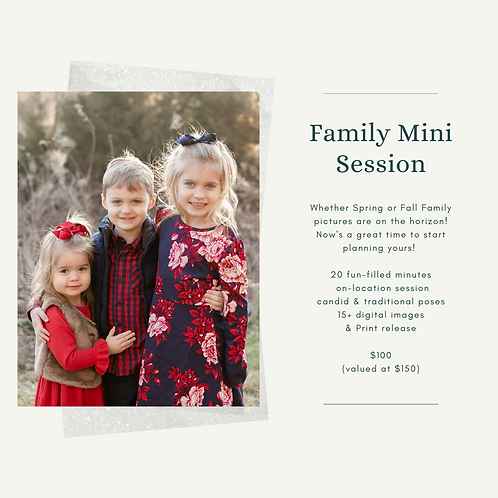 Family Mini Session Gift Certificate