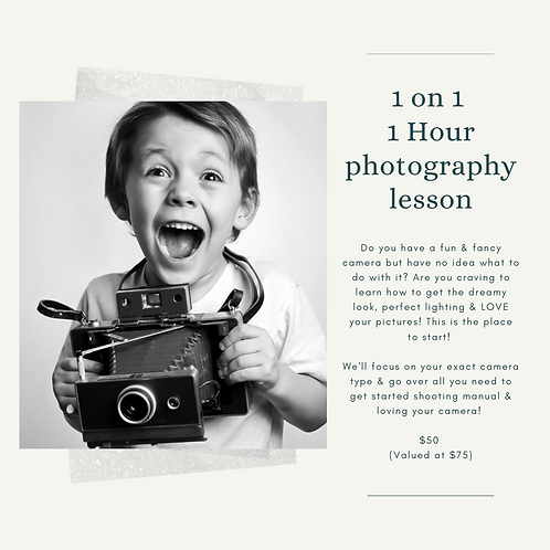 1 hour 1 on 1 photography lesson Gift Certificate