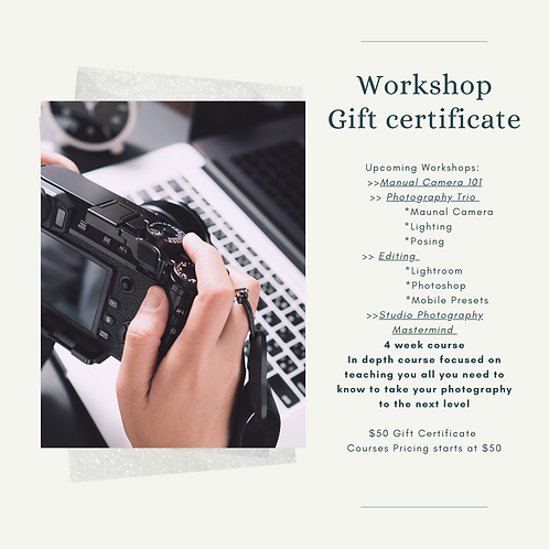 Photography Workshop Gift Certificate