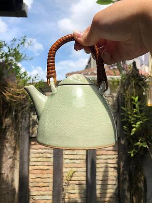 Green Ceramic Pot & Teacups