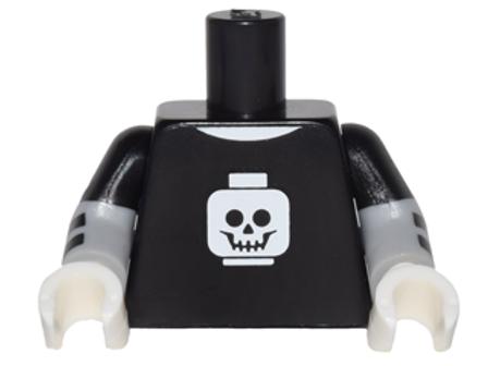 Part 973pb2391c01 Torso T-Shirt with White Minifigure Head Skull Pattern / Light