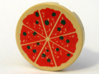 Part 4150p02 Tile, Round 2 x 2 with Pizza Pattern
