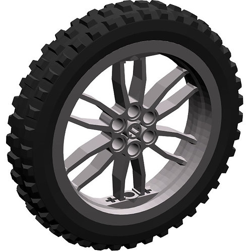 LEGO Wheel 75 x 17mm with Black Tire 100.6mm