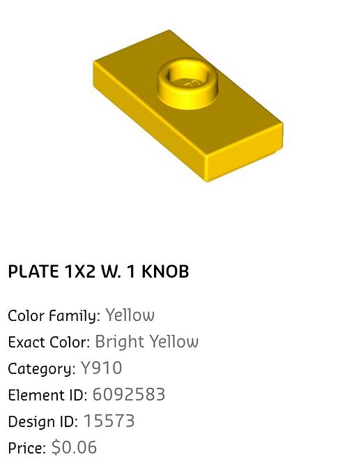 Plate 1x2 W. 1 Knob