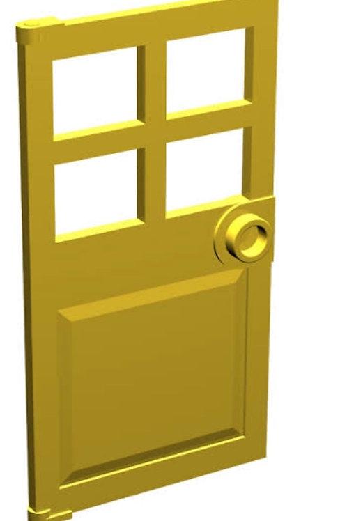 LEGO Yellow Door 1 x 4 x 6 with 4 Panes and Stud Handle