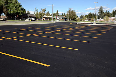 Seal Coat Parking Lot with Stripes