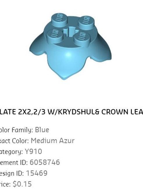 Plate 2x2,2/3 W/KRYDSHUL Crown Leaf