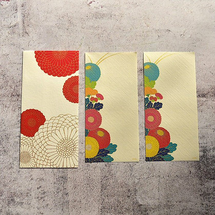封筒と一筆箋 菊柄