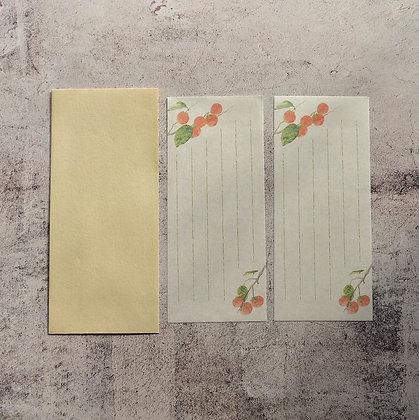 封筒と一筆箋 柿