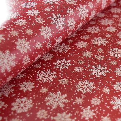 X'masペーパー赤に映える雪の結晶