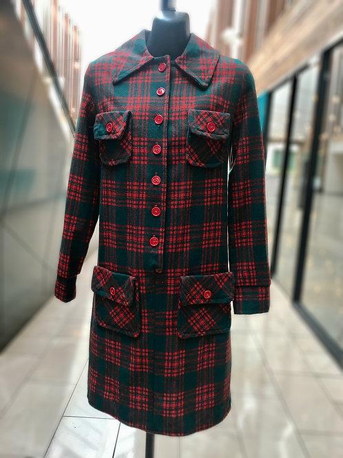 "1970s ""At Ease"" Classic Wool Tartan Shirt Dress"