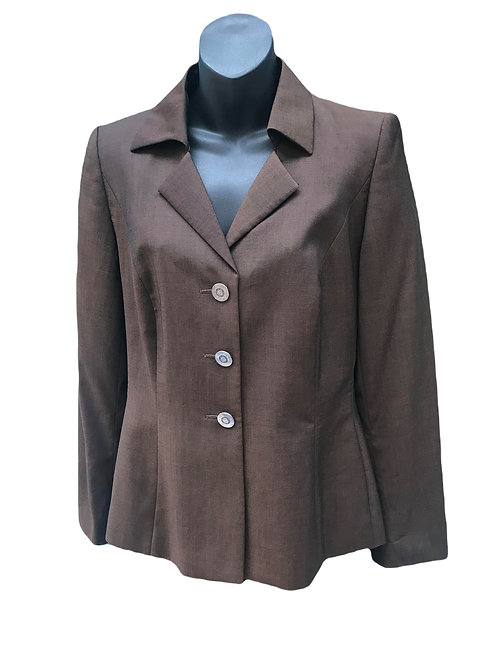 Designer Escada Margaret Ley Chocolate Brown New Wool Blazer