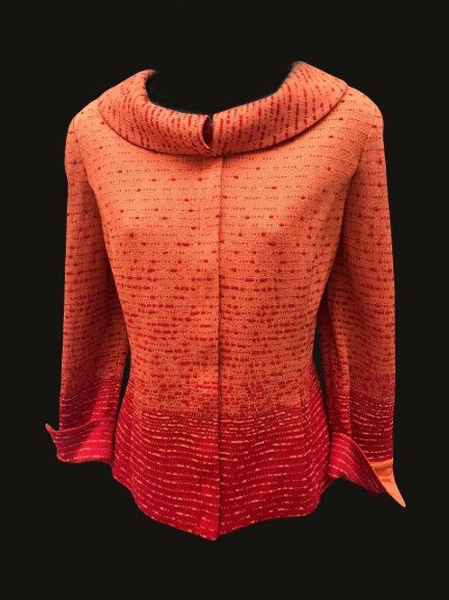 Designer St John Collection Orange Red Gradient Knit Jacket