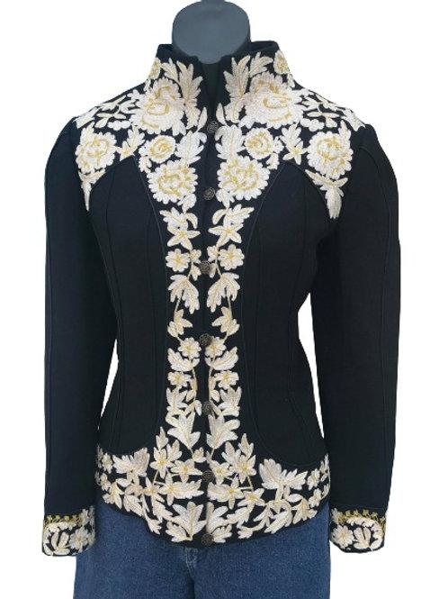 Designer Nicole Miller Collection Embroidered Black Wool Jacket