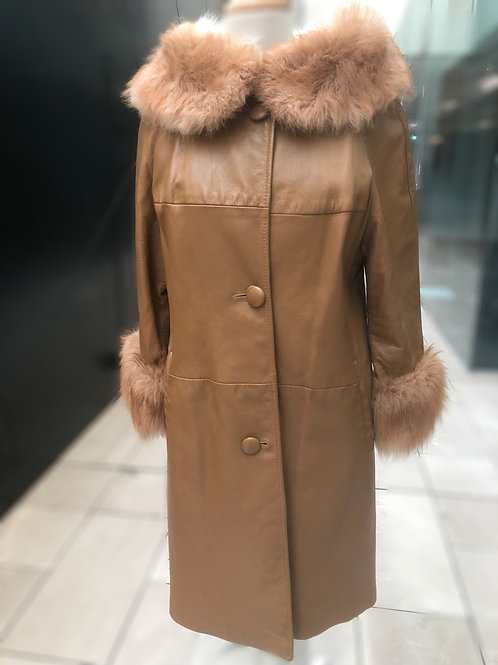 1960's Caramel Leather Jacket with Lux Fur Collar and Cuff