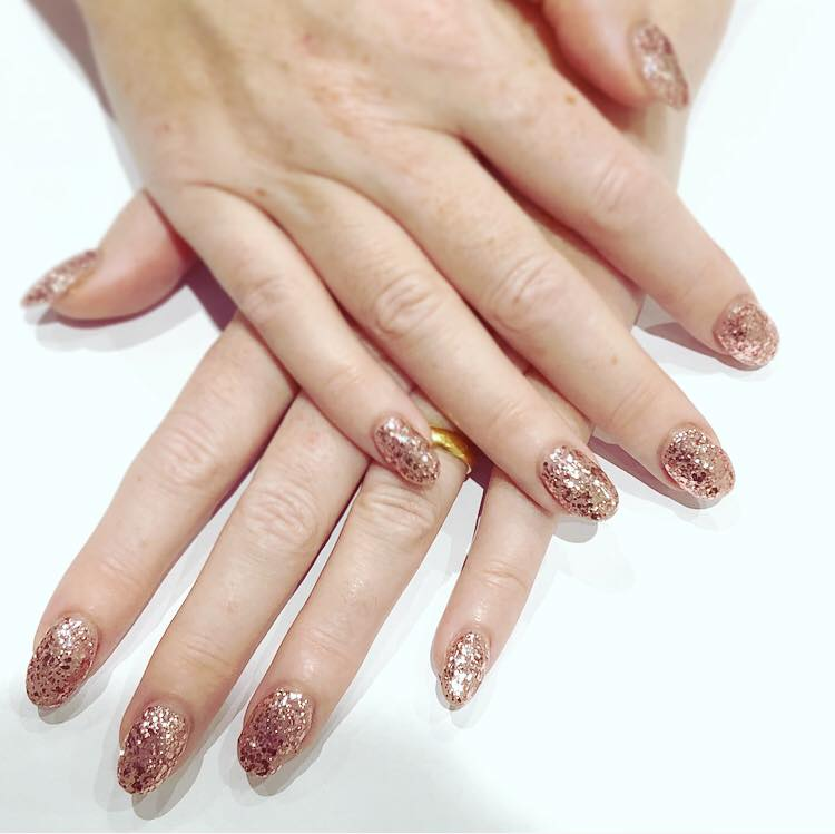 rose gold glitter shellac