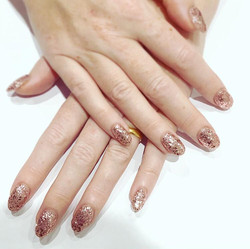 rose gold glitter shellac