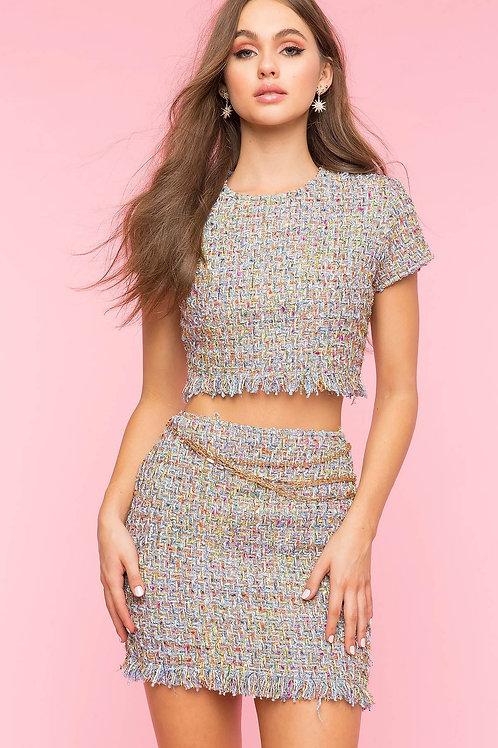 Multi colore Tweed Skirt suit