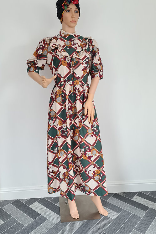 Vintage Handmade Cotton Print Short Sleeved Dress M