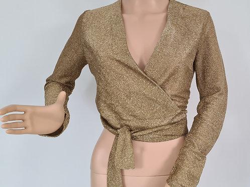 Vintage 1960s Original Neatawear Gold Lurex Wrap Top S
