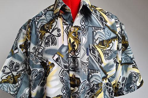 Mens Vintage 1980s Loud Print Short Sleeved Loose Fitting Shirt M