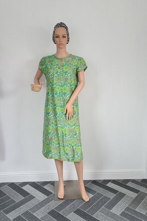 Vintage 1960s Handmade Green Floral Silk Shift Dress M