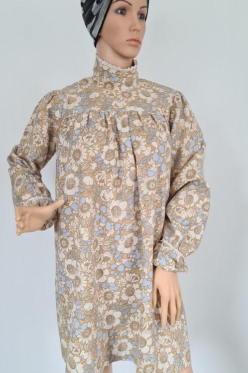 Vintage Sixties Beige & Blue Floral Mini Dress L