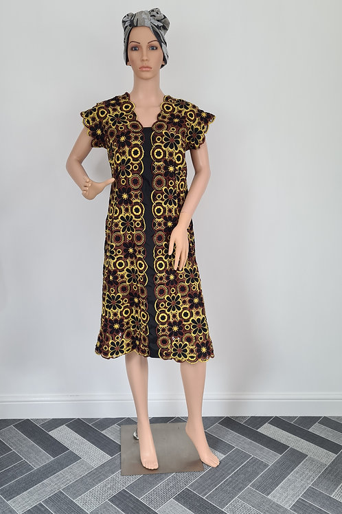 Handmade Embroidered Lace Dress Black / Brown & Gold Floral Design S/M
