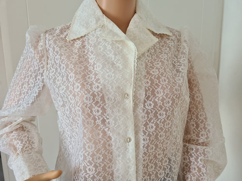 1970s Pale Creme Net Blouse (see through) UK16