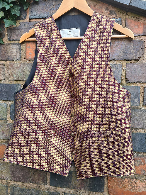 Vintage 80s Patterned Silk Waistcoat by Lords Formal Wear London M