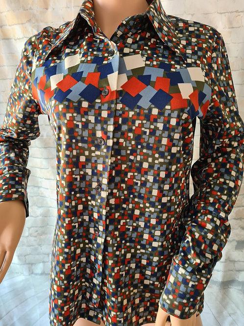 Vintage 1970s Geometric Patterned Shirt L