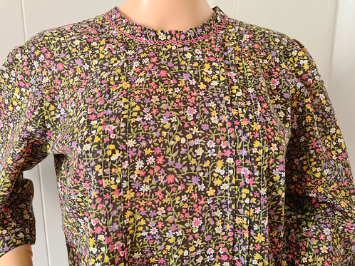 Vintage Handmade Delicate Floral Patterned Buffet Dress with Pleating Detail M