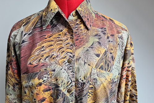Mens Vintage 1980's Jaeger Multi Print Shirt XL