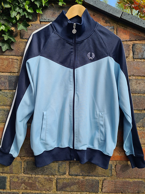Vintage 90s Fred Perry Pale Blue & Navy Retro Track Top L