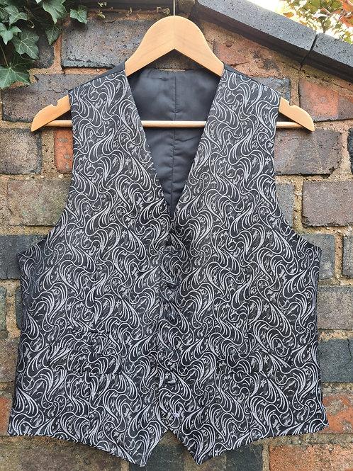 Vintage Moss Bros Covent Garden London Waistcoat / Vest Black & Silver Design 42