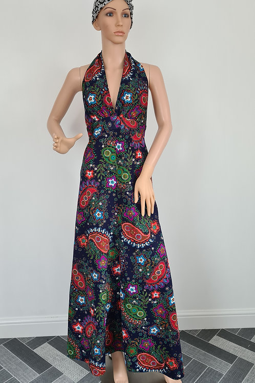 Vintage Handmade Navy Floral Print Maxi Dress with Empire lone and Halter Neck S