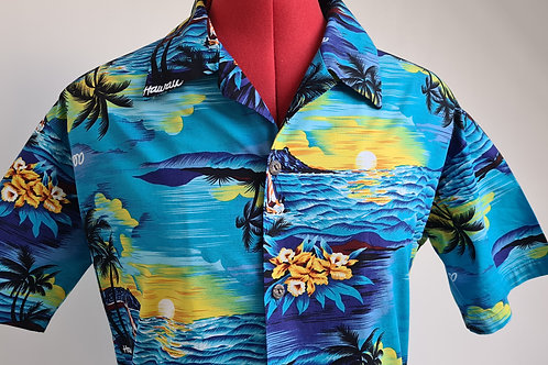 Vintage Aloha Blue Hawaiian Shirt with Palm & Sunset Print M
