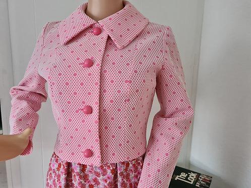 Vintage Polka Dot Pink Short Collared Jacket UK Sz12