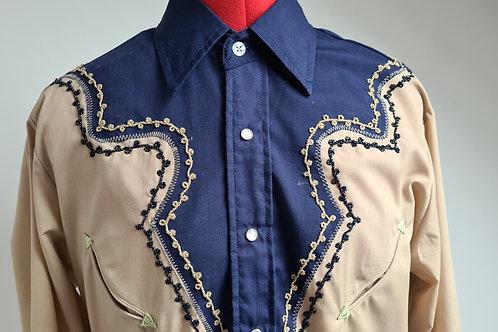 Vintage Embellished Beige and Blue Western Shirt M