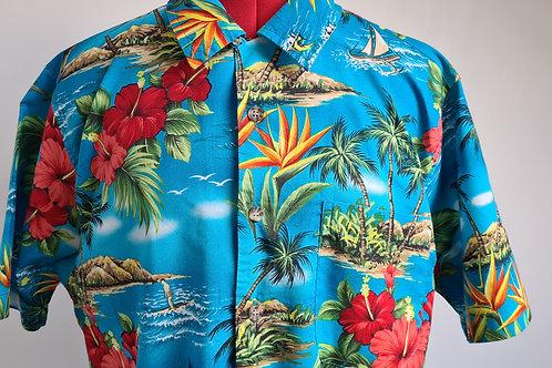 Vintage 80s Short Sleeved Blue Hawaiian Shirt with Floral Island Print M