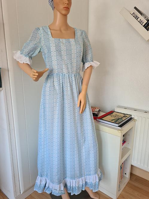 Vintage Pale Blue / White Boho Maxi Dress with Celtic Print by Michael Sinclair