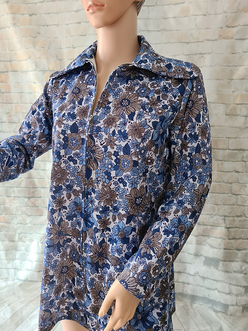1960s Vintage Long Sleeved Zip Front Blue Floral Top L