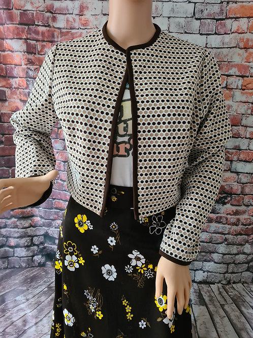 Vintage 70's Brown Polka Dot Short Dress Jacket M/L