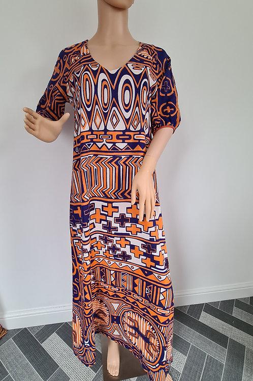 Vintage 1970s Maxi Blue & Orange Bold Abstract Print Dress by Natex UK size 14