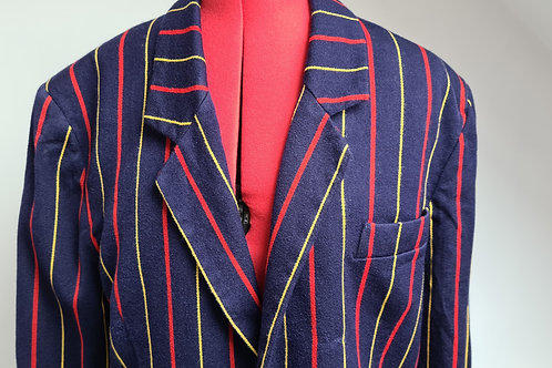 Mens Navy Blazer with Red and Yellow Pinstripe by Jeff Banks L